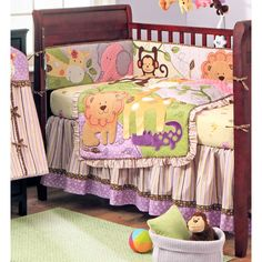 Jungle BFF Purple Yellow and Green Girls Safari 4 Piece Crib Set-- Perfect for a little girls room and just the color combo I wanted!! LOVE LOVE LOVE =)