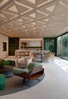 Modern Home Decor Kitchen Interior Ceiling Design, False Ceiling Design, Restaurant Interior Design, Ceiling Decor, Office Interior Design, Le Riad, Living Room Light Fixtures, Wooden Ceilings, Deco Design
