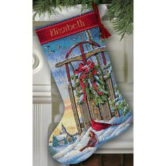 """Christmas Sled Stocking Counted Cross Stitch Kit-16"""" Long 16 Count"""