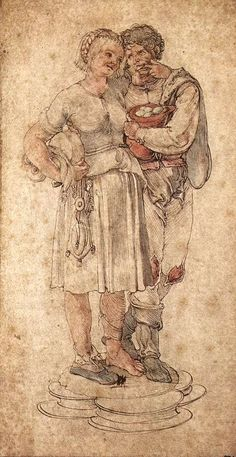 Albrecht Dürer. Amorous Peasants. c. 1484/1499. Pinacoteca Ambrosiana, Milan, Italy.  Web Gallery of Art. 2 February. 2010, .  Ruched up it is very short. Must be fairly short before being rucked up.