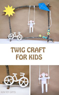 Pair nature elements and recycled cardboard into a fun twig craft for kids. Riding their bikes, playing at the playground and flying a kite may be on your kids' summer bucket list. Why not put them all together into a nice summer art? #TopYourSummer #SoHoppinGood #ad | at Non Toy Gifts