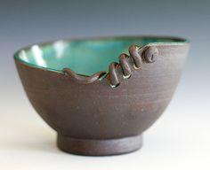 Try making coffee mug handle this way. More ribbon like. Kazem Arshi- Modern Handmade Ceramic Bowl. $95.00, via Etsy.
