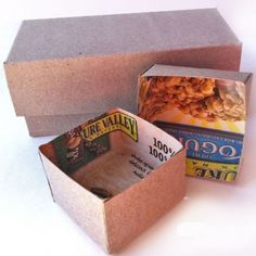 recycled gift boxes made out of cereal boxes