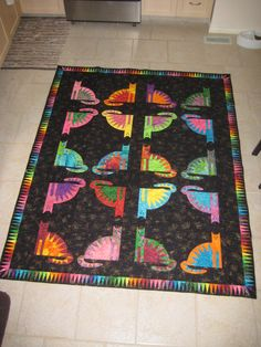 Laurel Burch quilt with cats--those are sneaky cats that  you don't notice at first!! //Stacyinstitches