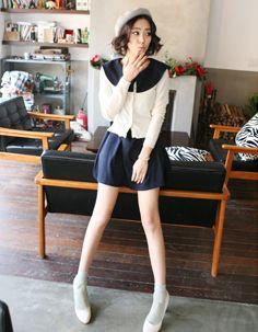 slit cape sailor collar a-line dress  CODE: MGL403  Price: SG $35.10(approx US $28.31)