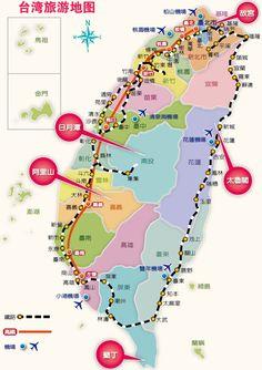 台湾旅游地图 台湾旅游景点分布图 - 本地宝
