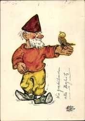 Artiste Cp Zwerg hält einen Singvogel auf der Hand, Ervau Wichtel Karte 28/12