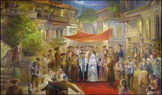 beautiful painting of jewish chuppah  #canopy by alex levine #jewishwedding #art