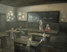 """""""Show and Tell"""" fantasy fairy tale acrylic painting by artist Philippe Fernandez."""