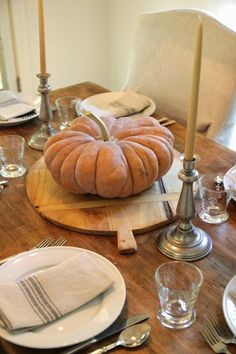 Fall Table Setting with a Muted Color Palate | Heirloom Pumpkin, Grey Linens & Edgartown Sand Candles - knediger@gmail.com - Gmail