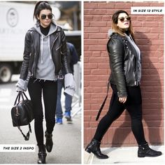 3 Celebrity Looks for Size Girls Living in a Size 2 World Plus-Size-Stil Inspiration Plus Size Winter Outfits, Plus Size Fall Fashion, Plus Size Outfits, Black Leather Jacket Outfit, Plus Size Leather Jacket, Fashion Mode, Look Fashion, Autumn Fashion, Booties Outfit