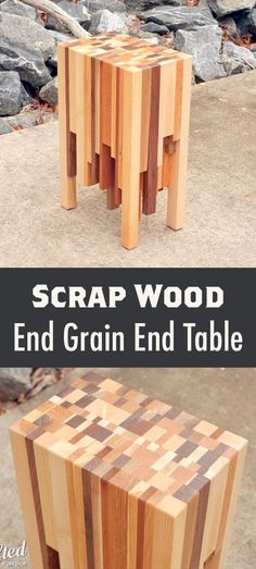 Turn a pile of hardwood scraps into a super cool end table! #WoodworkingIdeas