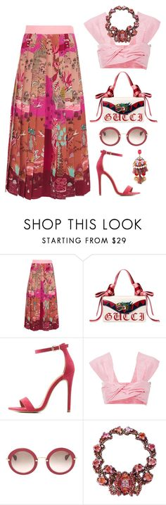 """""""Garden Party"""" by silhouetteoflight ❤ liked on Polyvore featuring Valentino, Gucci, Charlotte Russe, Paper London and Miu Miu"""