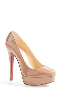 Nude Louboutin platform heels. Get in my closet!