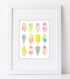 Watercolor popsicles and ice cream cones in lovely bright watercolors. This summery food art print is perfect a nursery or as kitchen decor. This art print is hand painted in watercolor, scanned at a high resolution, then altered digitally for printing and printed on thick and