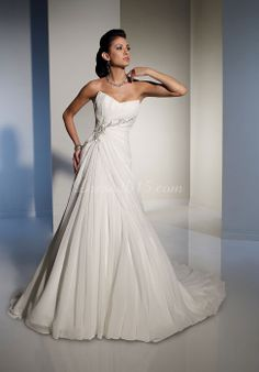Modern A-line Chiffon Sweep Train Pleated Wedding Dress