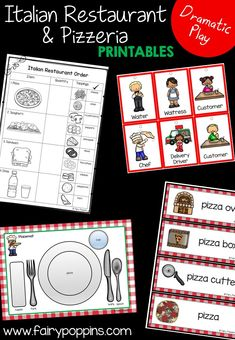 italian restaurant Italian Restaurant and Pizzeria dramatic play printables ~ Fairy Poppins Dramatic Play Themes, Dramatic Play Area, Dramatic Play Centers, Preschool Restaurant, Restaurant Themes, Pizza Restaurant, Early Learning Activities, Play Based Learning, Pizza Role Play