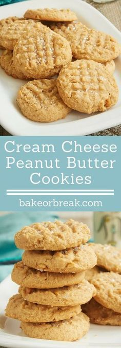 Cream cheese adds a lovely flavor and texture to these irresistible Cream Cheese Peanut Butter Cookies! - Bake or Break (brownie desserts coconut flour) Cream Cheese Cookies, Cream Cheese Recipes, Cookies Et Biscuits, Butter Cheese, Cream Cheese Brownies, Cream Cheeses, Easy Cream Cheese Desserts, Cream Cheese Biscuits, Cream Cheese Pasta