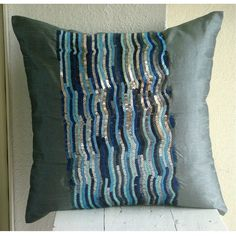 Silver Blue Jazz - Throw Pillow Covers - 16x16 Inches Silk Pillow Cover Embellished with Sequins