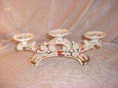Vtg Speckled Ceramic Candelabra with Color Spatter Triple Candle holder 13 inch Seller florasgarden on ebay