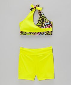 This Yellow Leopard Sports Bra & Shorts - Girls by Purple Pixies Dance is perfect! #zulilyfinds