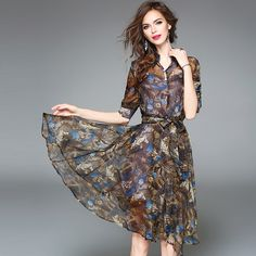 fb2579945ae0 Good Item 2017 New Print Summer Vintage Chiffon Printed Dress Women Chic  Knee Length Stand Sashes Short Dresses Fashion Sexy Lady Dress Evaluate ...