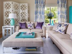 House of Turquoise: Digs Design Company - love the contrast of the turquoise & violet. Reminds me of the beautiful peacock :)