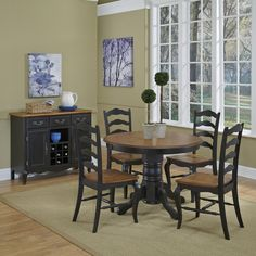 Home Styles The French Countryside Oak and Rubbed Black 5 Piece Dining Set | from hayneedle.com