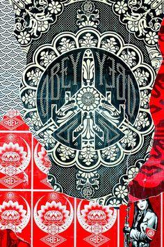 Shepard Fairey Wall at Art Basel Miami 2008 - Anahi DeCanio photogrpahy - All rights reserved. Shepard Fairey Art, Shepard Fairy, Obey Art, Illustration Photo, Propaganda Art, Art Basel Miami, Wow Art, Street Art Graffiti, Street Artists