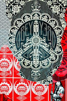 SHEPARD FAIREY WALL ART AT ART BASEL MIAMI 2008