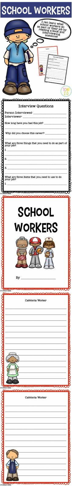 Do your students study school workers as part of your social studies curriculum? This product can be used to learn about the people that work at your school. Your students can read about and interview people who work at your school and then write a biography using the information they have gathered! Once they have all written a final copy you can make a class book for them to take home. Available in both color and black and white.
