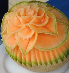 Beautiful melon carving ... wish I could be so creative.