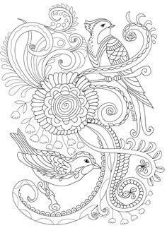 Раскраска антистресс птицы в саду