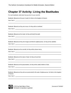 Printables Beatitudes Worksheet activities teaching and emojis on pinterest chapter 37 activity living the beatitudes saint marys press