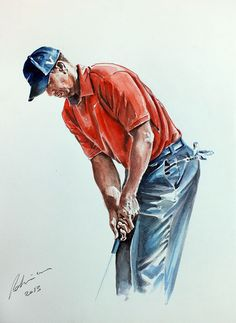 Tiger Woods watercolor by Mark Robinson