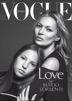 Magazine Cover: Supermodel Icon Kate Moss w daughter Lila Grace Moss Hack vogue Italian June 2016 by Mario Sorrenti. Mario Sorrenti, Steven Meisel, Lila Grace Moss, Lily Grace, Lila Moss, Kate Moss, Mother Daughter Poses, Mother Daughter Photography, Mother Daughters
