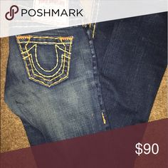 True Religion Jeans Orange Stitched, True Religions True Religion Jeans Straight Leg