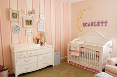love the pink striped walls! Nursery Themes, Nursery Room, Girl Nursery, Girl Room, Girls Bedroom, Baby Room, Nursery Ideas, Bedroom Ideas, Pink Striped Walls