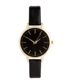 Schwarz. Armbanduhr aus Metall. Die Uhr hat ein schmales, verstellbares Armband…