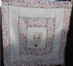 quilted throw featuring hand painted lurcher