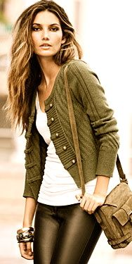 green military style cardigan