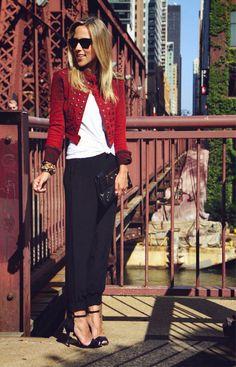 Kelly Wearstler Denim Jacket {$395} // Silk Jogger by Boutique {$130} // Theory Stretch Cotton Tank {$65} // Balenciaga Clutch // Heart Charm Bracelet {$45} // Lulu Frost Snake Bracelet