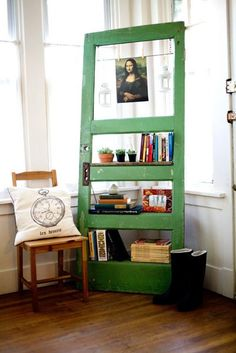 Vintage Door Repurposed Bookshelf  - GO GREEN via Etsy