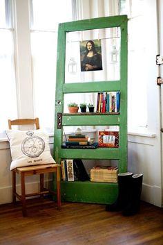 Vintage Door Repurposed Bookshelf  - GO GREEN via Etsy