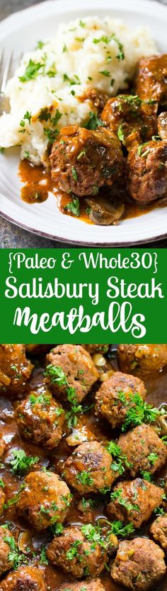 Extra Off Coupon So Cheap These easy and delicious Paleo Salisbury Steak Meatballs are great for families kid friendly compliant and perfect with mashed white or sweet potatoes! Gluten free dairy free sugar free ready is 30 minutes. Paleo Recipes, Real Food Recipes, Yummy Recipes, Dinner Recipes, Cooking Recipes, Paleo Meals, Steak Recipes, Easy Meals, Dinner Ideas