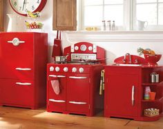 Pottery Barn Kids' play kitchen takes playing house to the next level with realistic renditions of retro appliances.