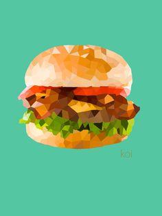 Hamburger   #llustrations  #Polygon Art