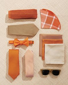 """Gingham and plaid accessories, like the pocket squares and ties above, are distinctive touches (and refreshing alternatives to the boutonnieres and bold socks most groomsmen rely on to perk up their neutral outfits. Mix and match crisp natural tones and energizing orange accents, in prints and solids, to create ensembles that brim with personality.        The Details: (clockwise from top) 1. Charvet knit silk tie, $205, bergdorfgoodman.com. 2. Alexander Olch """"The Surf"""" plaid pocket round,"""
