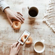 clever donut and morning coffee photo styling