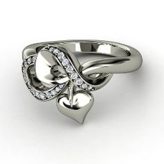 Petite Tattooed With Love Ring, White Gold Ring with Diamond from Gemvara